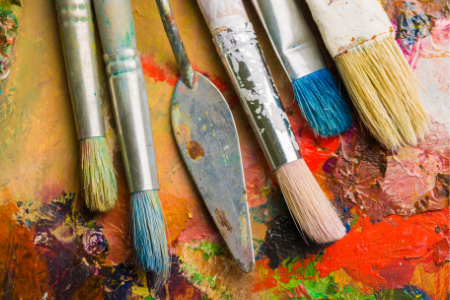Photograph of paint brushes