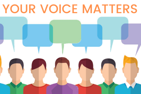 Graphic of group of people with dialogue bubbles overhead and the words Your Voice Matters