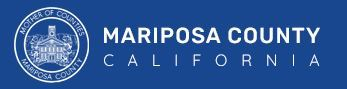 Graphic that displays the County logo and the words Mariposa County California