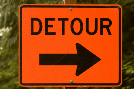Photo of detour sign